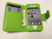 New Style Apple iPhone 4 4S Green Wallet Style with Two Card Slots PU Leather Case Cover For Apple iPhone 4 4S by G4GADGET®
