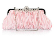 Demarkt Satin Pleated Frill Purse Clutch Wristlets with Crystal Shining Shoulder Chain Pink Wedding Party Bag Ladies Womens Evening Hand Bag