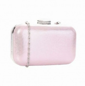 Shiny Plain Box Clutch Evening Bag With A Large Crystal Clasp And Long Chain