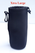 Neoprene XL Lens Pouch or Bag. Black. Xtra Large size.
