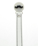 Mini Moustache with White Ribbon Soothie Holder