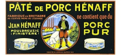 FRENCH VINTAGE METAL SIGN 40X20 CM VINTAGE AD POSTER PORK PIE HENAFF MADE IN BRITTANY