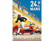 FRENCH VINTAGE METAL SIGN 40x29 CM POSTER 24HOURS OF LE MANS 20 AND 21 OF JUNE 1959