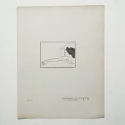 "Aubrey Beardsley - Antique Print - Flosshilde. To Illustrate ""Das Rheingold""."