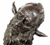Art Nouveau Bronze Statue - Character Head - Faunus - Faun - Jean Carries - signed