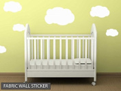 Fabric Reusable Wall Decal Set of clouds Boys Girls Bedroom Nursery Baby Room Re Positionable