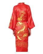 JTC Men Dragon Floral Satin Kimono Gown Bathrobe Sleeping Wear Nightwear