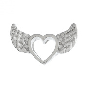 Truly Charming® Living Memory Locket Necklace Floating Charms Silver Angel Wings Heart Charm