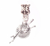 Juicy Jewellery Quirky Silver Knitting Needle & Wool Dangle Bead Charm