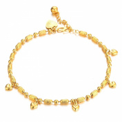 bigsoho 18k Yellow Gold Plated Love Hearts Pendant Adjustable Foot Chains Women Anklet Bracelet