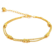 bigsoho 18k Yellow Gold Plated Bell Pendant Dual Beads Linked Chains Women Anklet Bracelet