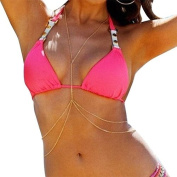 Bikini Beach Double Body Chain Crossover Harness Necklace In Gold