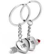 JewelryWe I love you Cupid's Arrow Magnetic Couple Key Ring Key Chain For Lovers Valentine's Day Gift