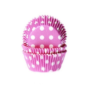 50 Cupcake Muffin Cases - Polka Dots White/Pink - House of Marie