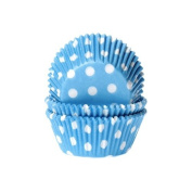 50 Cupcake Muffin Cases - Polka Dots White/Blue - House of Marie
