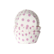 50 Cupcake Muffin Cases - Polka Dots Pink/White - House of Marie