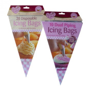 20 Disposable Icing Bags and 10 Dual Piping Icing Bags