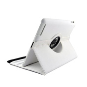 PU Leather 360 degree rotation stand stand iPad case for Apple ipad 2,3,4 Retina display , Free Screen Protector & Stylus - white