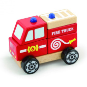 Wooden Stacking Fire Truck