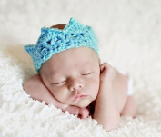 New Handmade Newborn Baby Girl Boy Crochet Knit Crown Hat Photography Prop,Blue Green