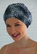 Ladies Black & White Animal Print Shower Cap Shower Hat Fashy Traditional Style