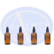 PACK of 4 - 100ml AMBER GLASS Bottles with Black ATOMISER Sprays. Essential Oil / Aromatherapy Use