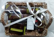 Ladies / Women's Moroccan Argan Oil Deluxe Wicker Pamper Gift Basket Hamper With Frosted Glass Elle Tea Light Holders - Cellophane & Ribbon Gift Presented