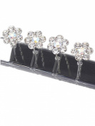 LondonProm @ 6 Of SPARKLY Silver flower DIAMANTE STONE HAIR PINS Diamante