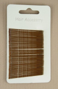 CARD OF 36 BROWN KIRBY HAIR GRIPS SLIDES 4.0CM UNISEX GREAT FOR ANY HAIR STYLE