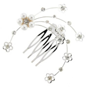 Pearl and Crystal Sprayed Branches Hair Comb Slide - Free Gift Pouch / Box - BHC0196
