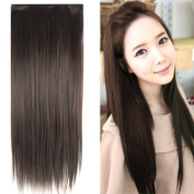 TRIXES 60cm . Straight Hair Extensions Dark Brown Hair Piece