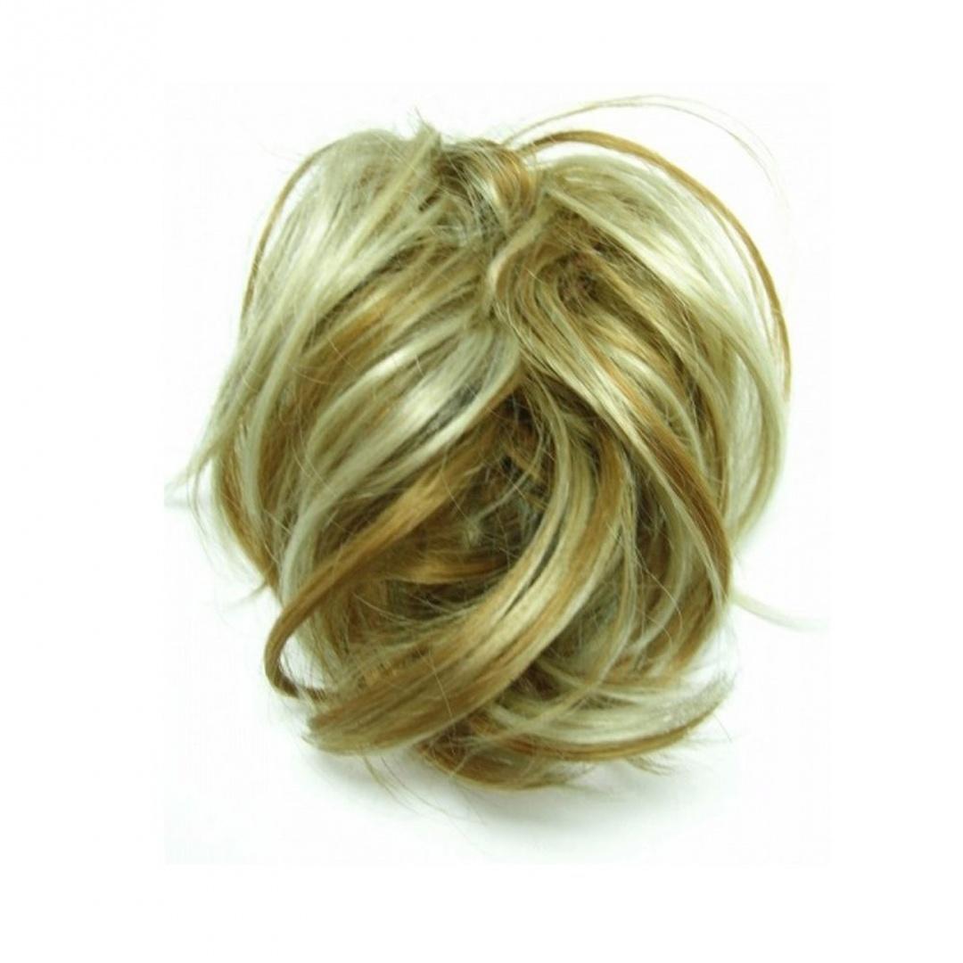 Super Fake Hair Scrunchy On A Ponio Loop Large Size Golden Blonde