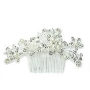 Charm Bridal Wedding Silver Crystal Rhinestones Pearls Women Hair Comb Clip Hot
