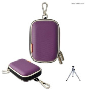 New first2savvv outdoor heavy duty purple camera case for Canon IXUS 265 HS with mini tripod
