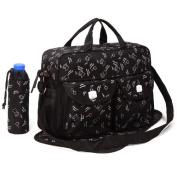Black 3pcs Baby Nappy Nappy Changing Bag Set C:Bear Design