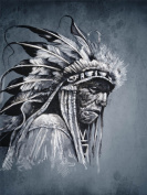 PAINTING DRAWING PORTRAIT STUDY NATIVE AMERICAN CHIEF ART PRINT POSTER MP3827B