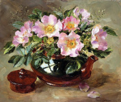 Flower Art Print by Anne Cotterill. Signed Lithographic Print. Wild Roses in a Teapot