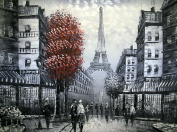Large Paris street scene with Eiffel Tower, Oil Painting on Canvas. Fine Art - Superb quality and craftsmanship, hand made wall art.