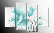 """Large Duck Egg Blue Floral Canvas Picture 4 pieces multi panel split canvas completely ready to hang hanging cord attached, hanging template included for easy hanging, UK company 40"""" width 28"""" height"""