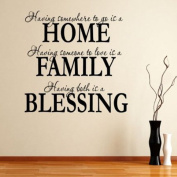 HOME FAMILY BLESSING Removable Vinyl Wall Quote Sticker Decal Mural Home wall sticker