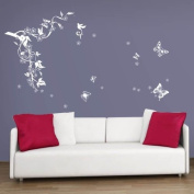 WALPLUS(TM) Wall Stickers Kitchen Home Homeware Furniture Wall Decor White Butterflies Flowers Vine Wall Stickers Home Mural Living Room Paper Art Decoration