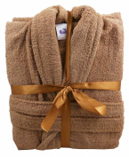 Mocha 100% Cotton Terry Towelling Bathrobe + Matching Belt - MEDIUM
