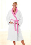 Ladies White & Pink Luxurious Fleece Bath/House Robe Dressing Gown Robe - Small