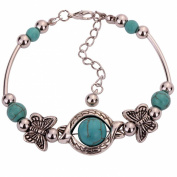 Turquoise and Silver Butterfly Bracelet
