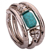 Turquoise and Silver Twisted Bangle
