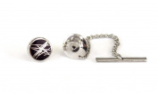 Tyler & Tyler Diffusion Black Tie Pin, Silver Finish, Boxed