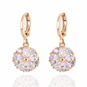 14K Gold Filled Inlay Flower Cubic Zirconia Earrings