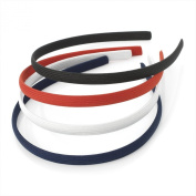 Set of 4 Spectator Colour Plain Fabric Covered Alice Hair Bands Headbands