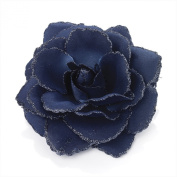 Large Navy Blue Glitter Edge Rose Flower Hair Elastic Band and Beak Clip Fascinator