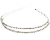 Silver NEW ARRIVAL Double Rhinestone Crystal Handcraft Girl Women Bow-knot Hair Hairband Hair Band Headband Accessories